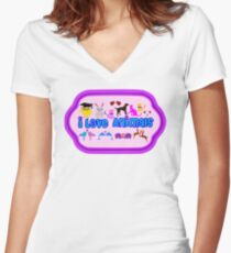 ❤↷I Love Animals-Animal Lovers↶❤ Women's Fitted V-Neck T-Shirt