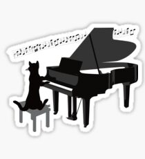 Funny Cat Playing Piano Keys Music Gift Sticker