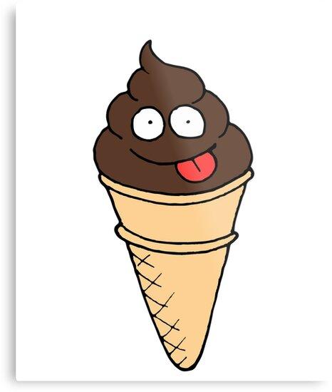 Funny Poop Chocolate Ice Cream Cone Emoji Food Humor Metal Prints