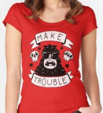 Make trouble - anarchy gorilla Women's Fitted Scoop T-Shirt