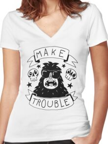 Make trouble - anarchy gorilla Women's Fitted V-Neck T-Shirt