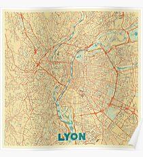 Lyon Map Retro Poster