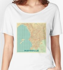 Marseille Map Retro Women's Relaxed Fit T-Shirt