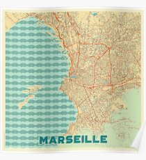Marseille Map Retro Poster