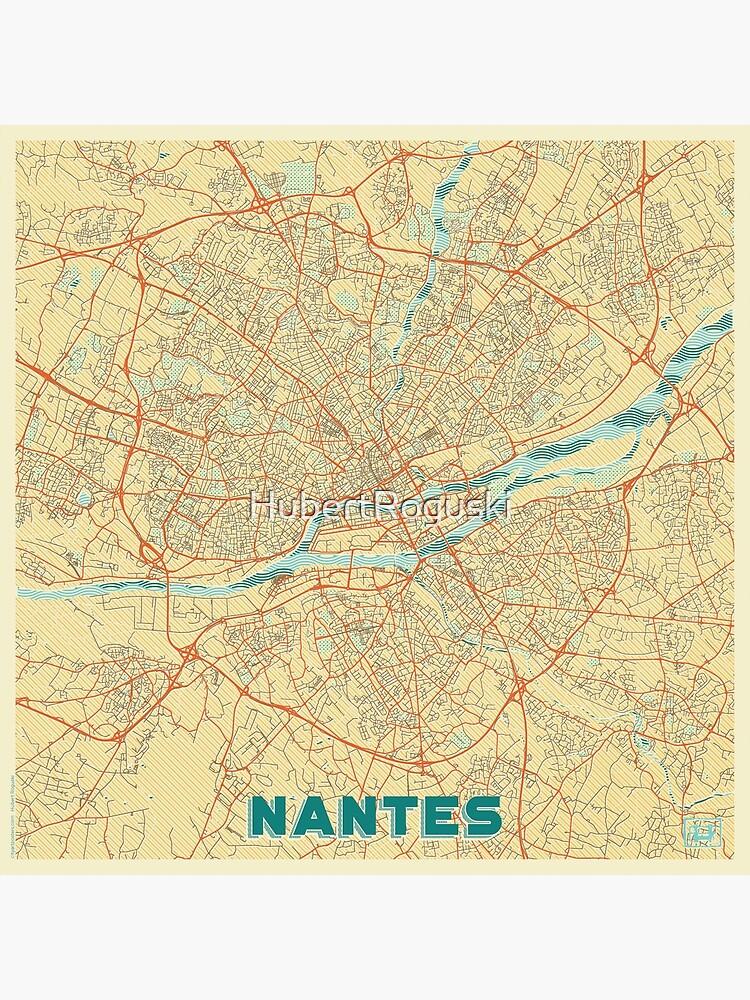Nantes Map Retro by HubertRoguski