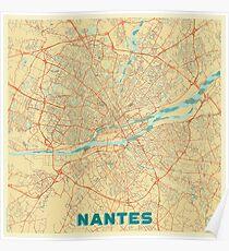 Nantes Map Retro Poster