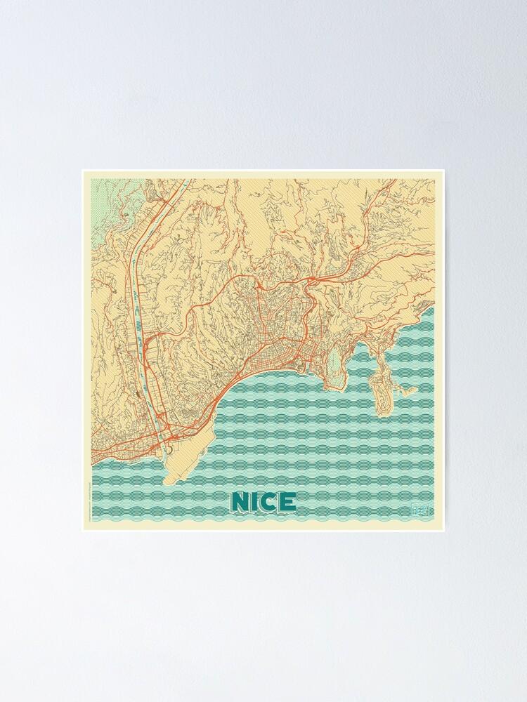 Alternate view of Nice Map Retro Poster