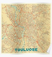 Toulouse Map Retro Poster