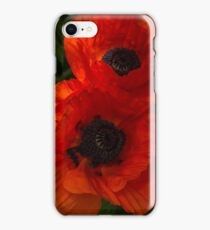 Hot Red Poppy Duet - a Vertical View iPhone Case/Skin