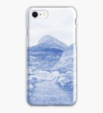 Blueprint Drawing of Arid Desert Dry Landscape Outdoors Rock Formation iPhone Case/Skin