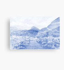 Blueprint Drawing of Arid Desert Dry Landscape Outdoors Rock Formation Canvas Print