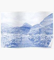 Blueprint Drawing of Arid Desert Dry Landscape Outdoors Rock Formation Poster