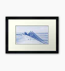 Blueprint Drawing of Bay Beach Bridge City Landscape Framed Print