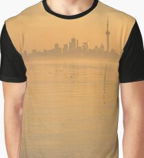 Soft Gold - Toronto Skyline In Velvety Morning Mist Graphic T-Shirt