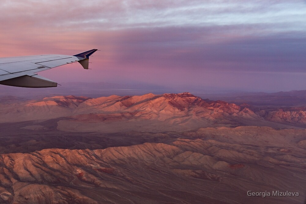 Loving the Window Seat - Pink Dawn Over the High Mojave Desert by Georgia Mizuleva