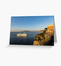 Sunset Postcard from Sorrento - the Sea, the Cliffs and Vesuvius Volcano Behind the Criuse Ship Greeting Card