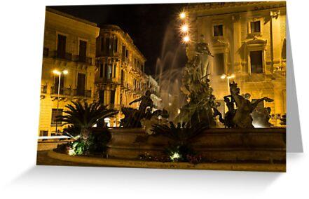 Diana Fountain -  Syracuse, Sicily, Italy by Georgia Mizuleva