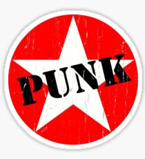 PUNK - Road worn - Distressed - Grunge - Star Logo Sticker