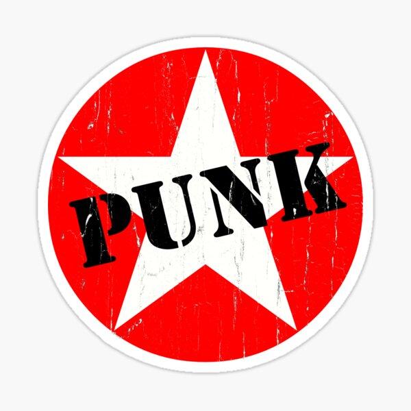 PUNK - Road worn - Distressed - Grunge - Star Logo Sticker
