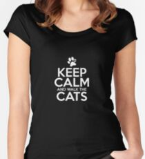 Keep Calm And Walk The Cats Women's Fitted Scoop T-Shirt