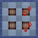 blue denim patchwork quilt with paw prints by gameover