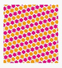 Stars - diagonal pattern - pink orange Photographic Print