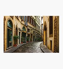 Impressions Of Florence - Walking on the Silver Street in the Rain Photographic Print