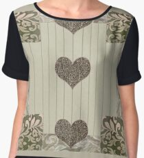 green and beige patchwork quilt with hearts Chiffon Top