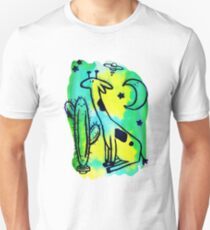 Space Giraffe and Cactus Green Watercolor Unisex T-Shirt