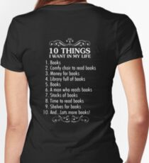 10 THINGS I WANT IN MY LIFE Women's Fitted V-Neck T-Shirt