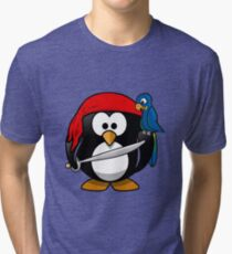 Shirt, shirt with design animal graphics aquatic penguin pirate of the caribbean for man and woman, Tri-blend T-Shirt