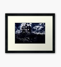 Haunted creepy house in ghastly moonlight Framed Print