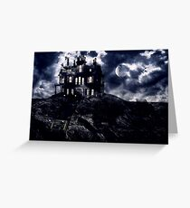Haunted creepy house in ghastly moonlight Greeting Card