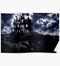 Haunted creepy house in ghastly moonlight Poster