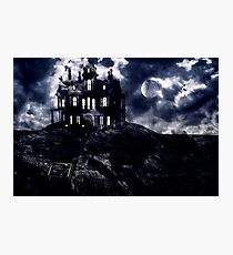 Haunted creepy house in ghastly moonlight Photographic Print