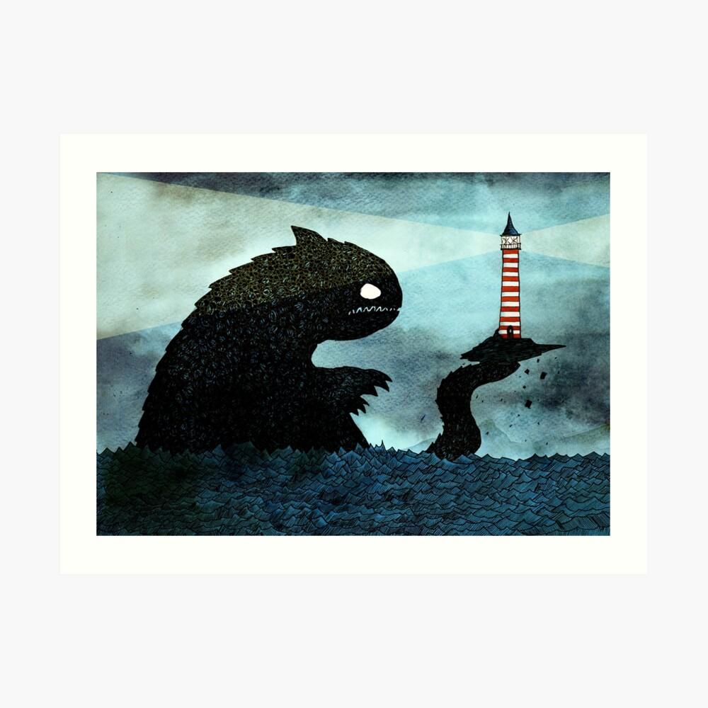 Seeungeheuer und Leuchtturm Kunstdruck