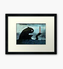 Sea monster & Lighthouse Framed Print