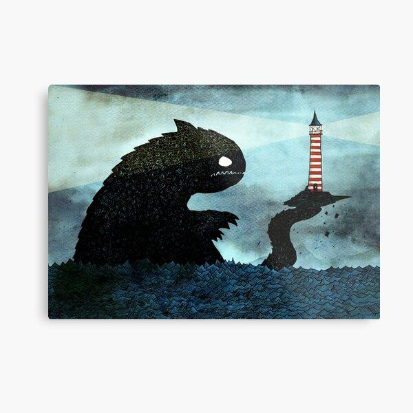 Sea monster & Lighthouse Metal Print