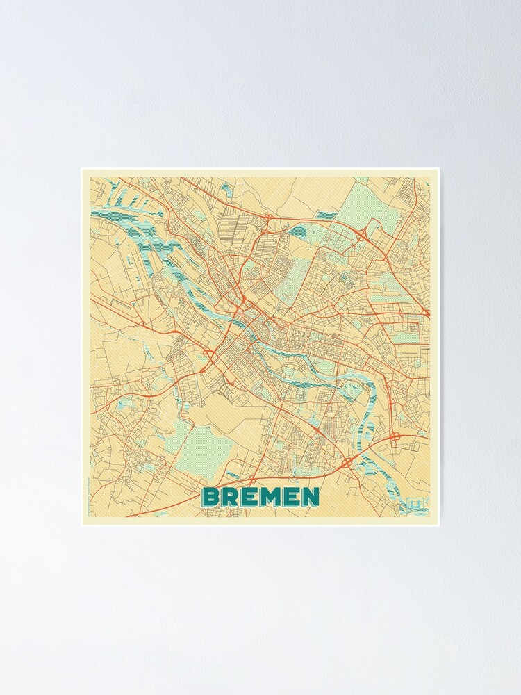 Alternate view of Bremen Map Retro Poster