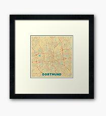 Dortmund Map Retro Framed Print
