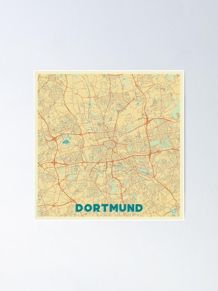 Alternate view of Dortmund Map Retro Poster