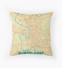 Dusseldorf Map Retro Throw Pillow