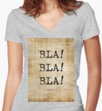 Bla Bla Bla, wall vintage poster Women's Fitted V-Neck T-Shirt