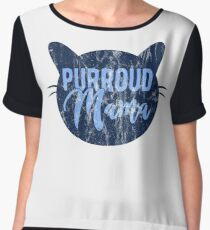 Purroud Mama Proud Mother's Day Cat Animal Whisker Chiffon Top