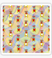 Schnauzer Dogs on Waves No2 - Red - Green - Blue - Yellow  Sticker