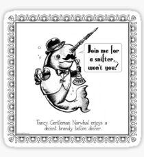 Fancy Gentleman Narwhal Sticker