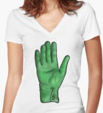 Talk To The Hand (Green) Women's Fitted V-Neck T-Shirt