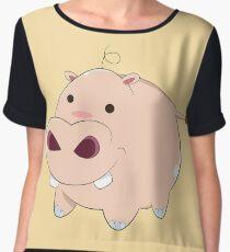 Happy Cartoon Baby Hippo Women's Chiffon Top