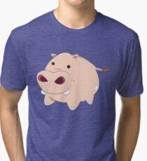Happy Cartoon Baby Hippo Tri-blend T-Shirt