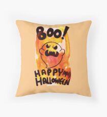Boo! Happy Halloween Ghost Throw Pillow